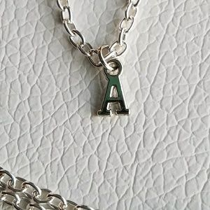 Jewelry - Silver initial charm necklace, letter necklace